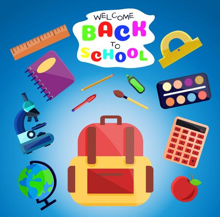 Welcome back to school banner,poster with colorful school supplies,education tools,bag,book. Flat cartoon vector illustration. Isolated on blue background. First day in school. School stationery. Stockfoto - 131795668