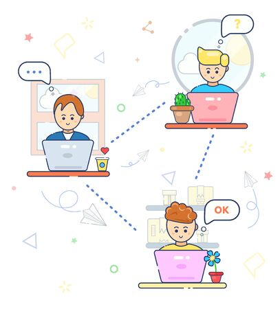 Business conference. Social networks. Online business, education, freelance, blogger, webinar, chat. Cute smile character people, man work at laptop, home, office, table. Seo,trading, delivery,service