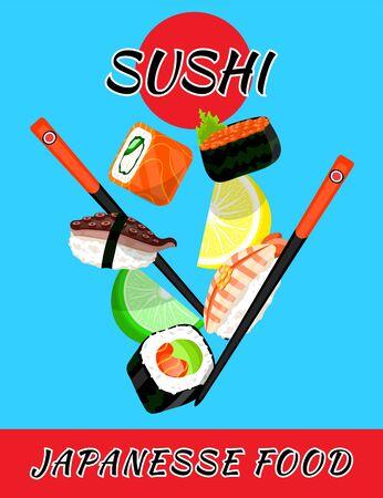 Sushi rolls food japanese. Asian sushi. Sushi bar,restaurant,accessories. Cafe logo. Modern flat cartoon