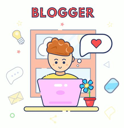 Young character cute smile blogger using laptop with idea of like. Man sit work at home. Flat line vector illustration. Video blogger at table, computer waiting for followers. Social networks, seo.