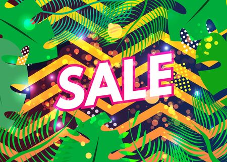 Tropical hawaiian exotic summer super sale banner. Palm leaves, plants. Text. Origami jungle floral background. Special offer, poster, flyer, voucher discount, invitation,web site. Vector illustration