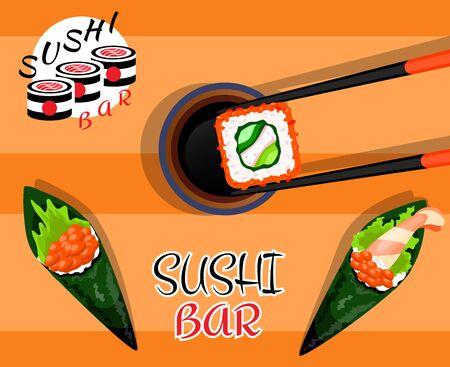 Sushi rolls food japanese. Asian sushi. Sushi bar,restaurant,accessories. Cafe logo. Modern flat cartoon vector illustration on white.