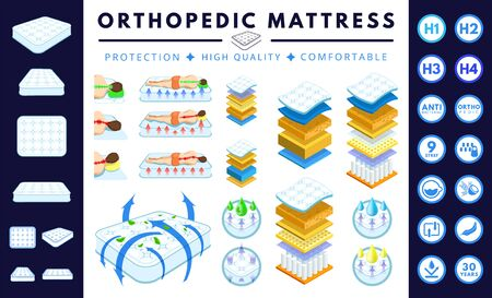 Orthopedic mattress set. Correct, incorrect sleep position. Layered mattress. White double bed, sofa.  Absorbing material while offering  breathable, comfortable, protection. Flat cartoon vector. Banque d'images - 129451397