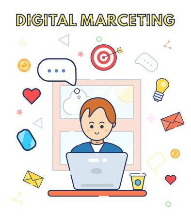 Young character cute smile marketer,specialist using laptop with idea of new project. Man sitting, work at home. Flat line vector illustration. Digital marketing. SEO optimization service, strategy. Archivio Fotografico - 131791756
