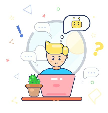 Young character cute smile man using laptop and chatting with chatbot. Flat line vector illustration. Chatting with robot. Online shopping. Robot. Speak bubble. Support service online virtual help. Stock Illustratie