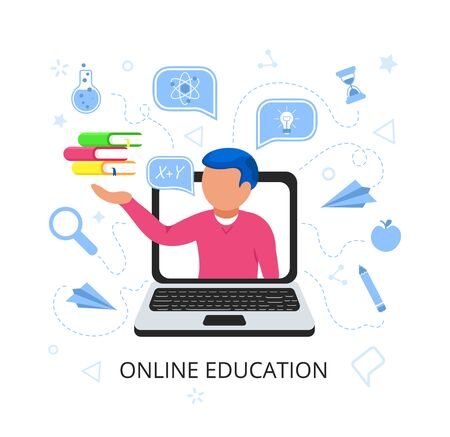 Young handsome man in laptop holds books in his hand with speak bubble. Online education concept. E-learning by webinar training. Home online education at Video blog concept. Online Library. Flat. 向量圖像