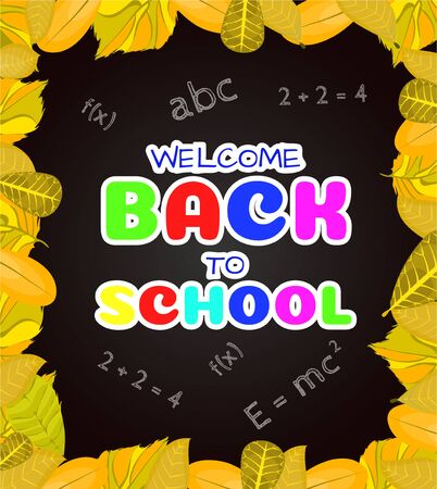 Welcome back to school banner,poster with colorful school supplies,education tools,bag,book. Flat cartoon vector illustration. Isolated on blue background. First day in school. School stationery.
