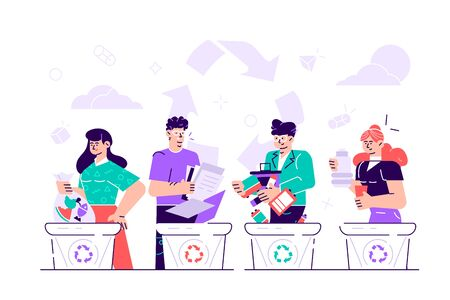 Sorting and recycling. Bundle of cute funny people putting rubbish in trash bins, dumpsters or containers. Set of happy men and women practicing garbage collection. Flat cartoon vector illustration.