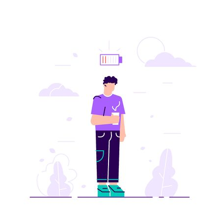 Businessman and life energy. Man tired of working or low battery and need socket. Low battery conceptual illustration. Young female exhausted character. Modern urban life. Flat vector illustration.