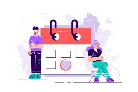 Planning schedule concept with characters. Effective time management, save time, teamwork, planning training activities, organization, working time.vector illustration for web page, social media,cards