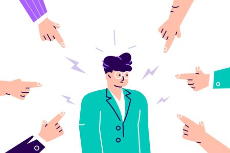 Soziale Ablehnung. Traurige oder depressive junge Frau, umgeben von Händen mit Zeigefingern, die auf sie zeigen. Quilt, Anklage, öffentliches Tadel und Konzept der Schuldzuweisung des Opfers. Flache Cartoon-Vektor-Illustration