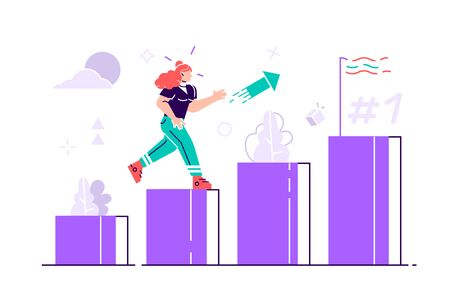 People run to their goal on the column of columns vector illustration. Move up motivation. The path to the target's achievement. Flat style vector for web page, social media, documents, cards, posters