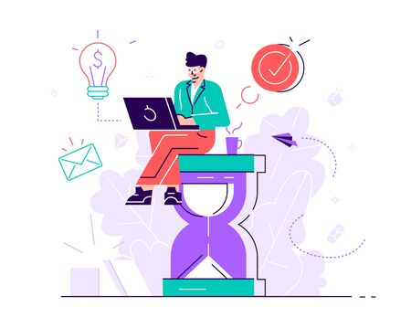 Happy handsome office worker sitting on an hourglass and doing several actions at the same time. Multitasking, productivity and time management concept. Flat style vector illustration