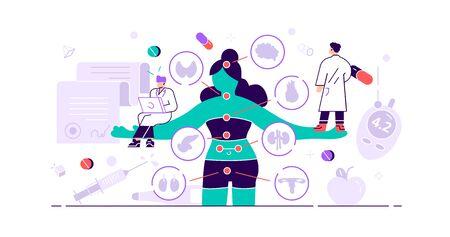 Endokrinologie-Konzept. Winzige Hormone erkranken Menschen. Zweig der abstrakten Medizin und Biologie des endokrinen Systems. Verhaltens- oder vergleichende Behandlungsforschung. Anatomisches Drüsenproblem. Vektor-Illustration Vektorgrafik