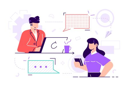 Vector illustration. Customer service, male hotline operator advises client, online global technical 247 customer and operator support. Flat style vector illustration for web page, social media