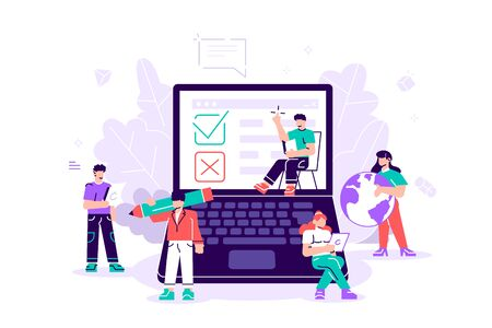 Test. Online survey Vector illustration for web banner, print, infographics, Online voting, online survey technology concept with people and laptop with checklist. Yes No list