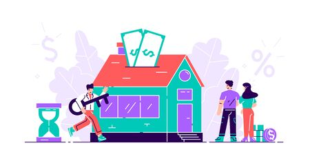 Mortgage concept. Buy real estate and pay credit to bank. Abstract ownership agreement visualization. Property money investment contract. House purchase debt persons. Flat tiny vector illustration