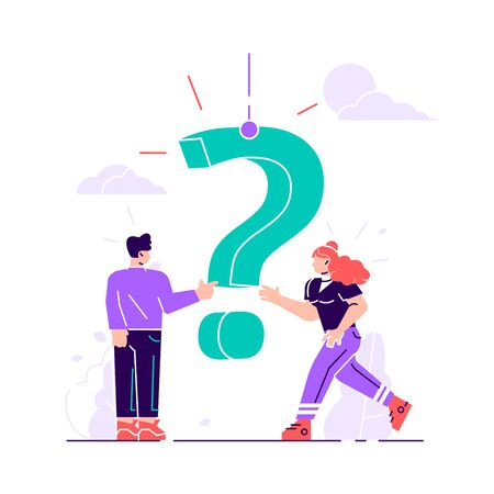 Concept people frequently asked questions around question marks. Answer to question metaphor. Flat character vector illustration of FAQ and QA for landing page, banner, template, ui, web, mobile app.  イラスト・ベクター素材