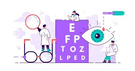 Ophthalmology concept. Tiny eyes health persons. Abstract lens view examination checkup. Patient myopia and foresight focus correction treatment with pills drops and glasses. Flat vector illustration