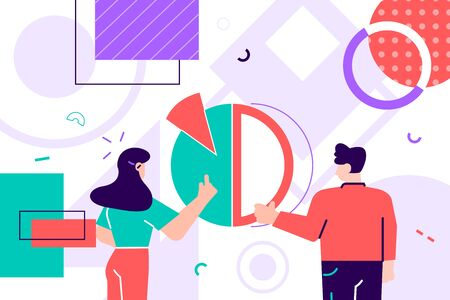 Pair of people holding round pie chart. Cute funny boy, girl and circular diagram. Man and woman organizing abstract geometric shapes. Flat cartoon modern style colorful vector illustration for web Ilustrace