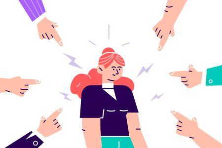 Désapprobation sociale. Jeune femme triste ou déprimée entourée de mains avec des index pointés sur elle. Courtepointe, accusation, censure publique et concept de blâme de la victime. Illustration vectorielle de dessin animé plat