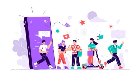 acquisition, advertisement, advertising, boy, buyer, character, client, colorful, commerce, composition, concept, creative, customer, flat, friend, girl, group, holding hands, idea, illustration, influencer, internet, invite, like, loyal, loyalty, ma
