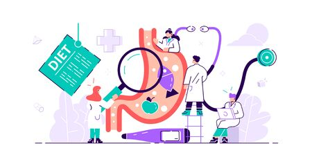 Gastroenterology concept.Tiny stomach doctor persons. Medical internal organs disease health care. Tract system examination and ultrasound xray diagnosis and food suggestions. Vector illustration flat