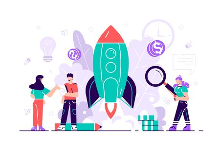 Business growth. Business or IT startup, start up venture and entrepreneurship concept, vector illustration for web, presentation, banner, infographics.  Business people launches rocket into the sky.