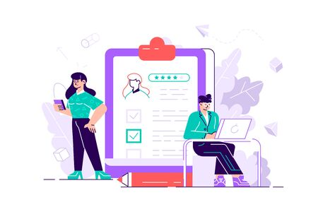 People fill out a form. Online application. Cartoon miniature illustration vector graphic on white background. Web banner.  vector illustration for web page, social media, documents, cards, posters.