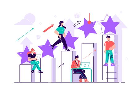 The best estimate of performance. Vector. The score of five points. People leave feedback and comments, successful work is the highest score. Flat style vector illustration on white background. Vector Illustratie
