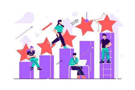 The best estimate of performance. Vector. The score of five points. People leave feedback and comments, successful work is the highest score. Flat style vector illustration on white background.