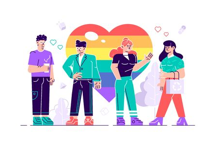 Love parade. A group of people holding a huge rainbow heart. LGBT community. Human rights. LGBT. Flat vector illustration.