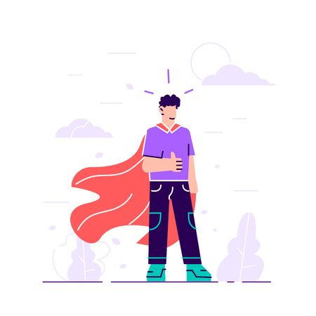 Business symbol of ambition, success, motivation, leadership, courage and challenge. Superhero conceptual illustration. Young male character wearing a superhero cape. Flat vector illustration.