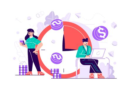 Concept save time, Money saving. Times is money. Business and management, Piggybank, time is money, financial investments in stock market future income growth, Time management planning, Deadline. Illustration