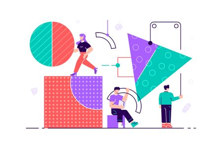 Business people. A team of people assemble an abstract geometric puzzle. characters collect geometric shapes. Flat style vector illustration for web page, social media, documents, cards, posters.