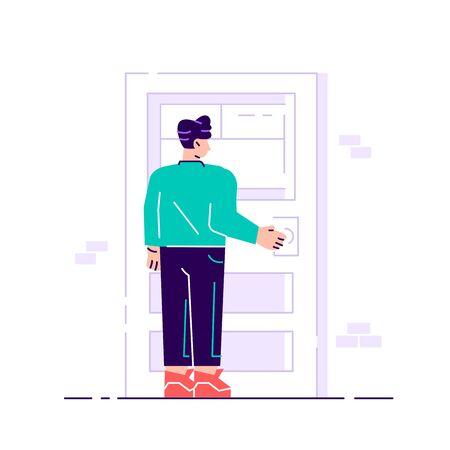 Jeune personnage féminin tenant une poignée de porte. Entrer dans le bâtiment. Jeune travailleur attrayant souriant dans une tenue décontractée intelligente debout, ouvrant, fermant la porte. Illustration vectorielle plane isolée sur blanc