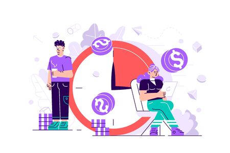 Concept save time, Money saving. Times is money. Business and management, Piggybank, time is money, financial investments in stock market future income growth, Time management planning, Deadline.  イラスト・ベクター素材