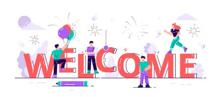 New team member Concept. Welcome word, people celebrate, for web page, banner, presentation, social media, documents, cards, posters. Meeting, greeting concept. Flat style modern vector illustration