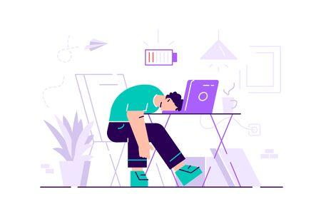 Agotamiento profesional. Larga jornada laboral. Millennials en el trabajo. Ilustración de vector plano. Gerente masculino joven agotado en el trabajo sentado en la mesa en la oficina con la cabeza hacia abajo y el icono de batería baja arriba. Ilustración de vector