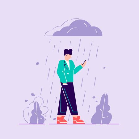Woman in depression. Sad male character standing under the rain. Overcast weather. Emotions. Solitude concept. Flat vector illustration. School stress, anxious introvert teen, lonely bullying abused