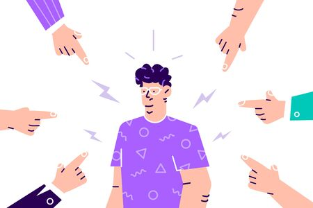 Social disapproval. Sad or depressed young woman surrounded by hands with index fingers pointing at her. Quilt, accusation, public censure and victim blaming concept. Flat cartoon vector illustration