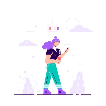 Businesswoman and life energy. Woman tired of working or low battery and need socket. Low battery conceptual illustration. Young female exhausted character. Urban life. Flat vector illustration. Ilustracja