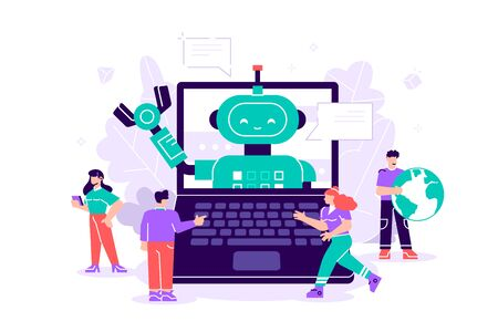 Vector flat isolated illustration. Talking to a chatbot online on laptop computer. Communication with a chat bot. Customer service and support. Artificial intelligence concept. Robot, bot, people.