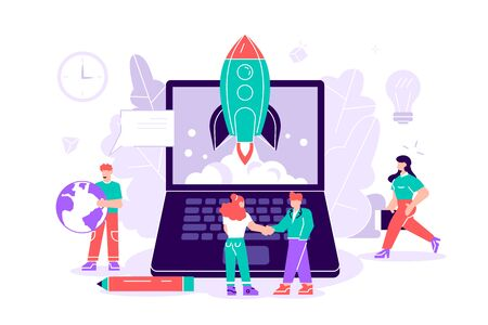Flat vector illustration isolated.Concept startup launch of a new business for web page, banner, presentation, social media, business project start up. young emerging company. rocket launch into space Vetores