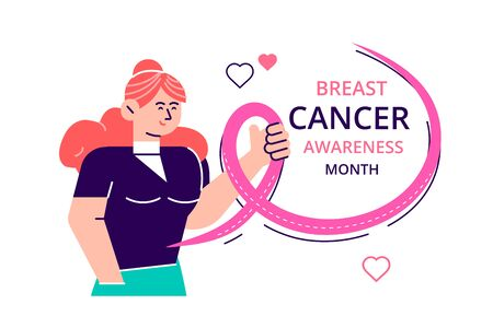 Pink ribbon month of breast cancer, international breast cancer day worldwide, women embracing themselves with ribbons as a concern for breast cancer. Flat style modern design vector illustration
