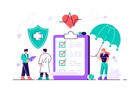 Health insurance concept. Big clipboard with document on it under the umbrella. Healthcare, finance and medical service. Flat illustration in cartoon style modern design vector Isolated on white