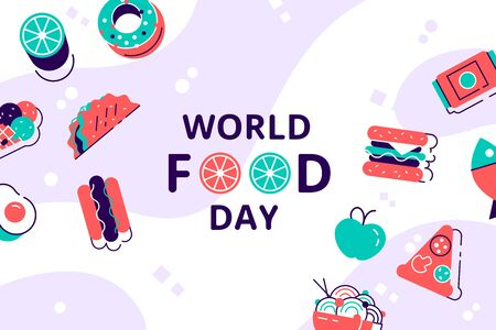 World Food Day illustration. Various Food, Fruits, Vegetables. Flat style modern design vector illustration is suitable for social media, banner, web page, poster, flyer and related with fast food Ilustracja