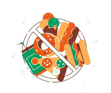 Icona dell'alimento di vettore. Niente fast food. Prodotti fast food con segnale di divieto. Illustrazione vettoriale di design moderno in stile piatto per pagina web, cartoline, poster, social media. Hamburger, soda, pizza, ciambella.