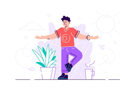 Vector illustration, the concept of meditation, the health benefits for the body, mind and emotions, man stay in the yoga position, the thought process, the inception and the search for ideas.