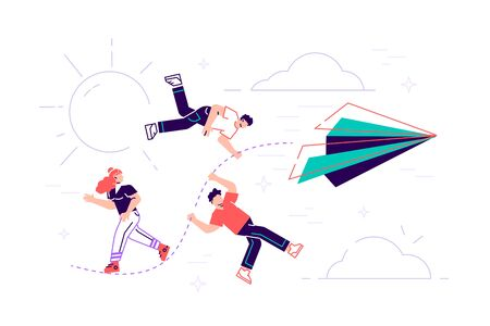Vector illustration, achievement concept, a company of people holding on to a thread from a paper plane, move towards the goal. Flat style modern design vector illustration for web page, cards, poster